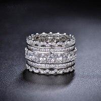 2017 Novo Cristal de Swarovski rendas Requintado oco rendas de prata dedo indicador anel grande Para As Mulheres Moda 925 de Jóias Anéis