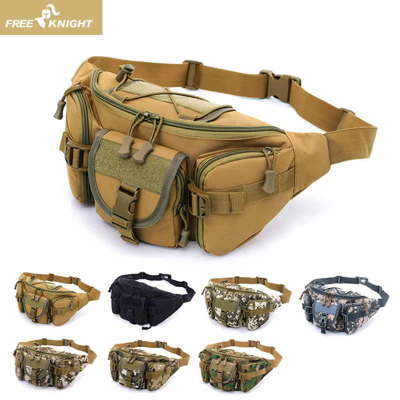 1d94291b07f6 FREE KNIGHT Camouflage Waist Bag Molle Tactical Waterproof Travel Bags Belt  Phone Army Military Worker Accessories Waist Packs