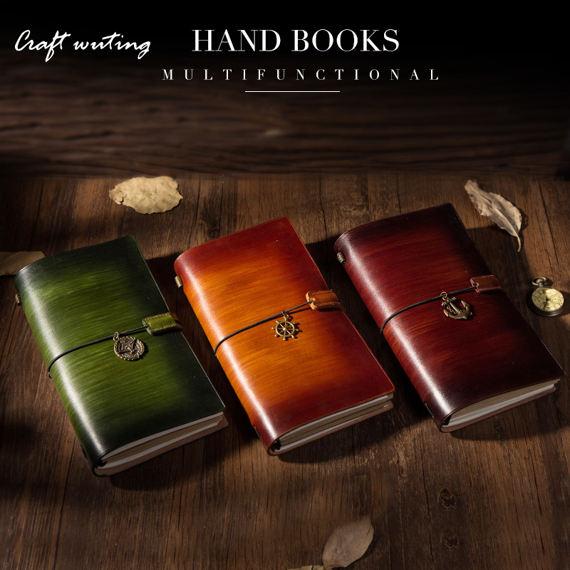 Craft Vintage Genuine Leather Notebook Diary Travel Journal Planner Sketchbook Agenda DIY Refill Paper School Birthday Gift soft copybook vintage rope spiral notebook pocket diary planner books travel journal notebook sketch craft blank refill paper