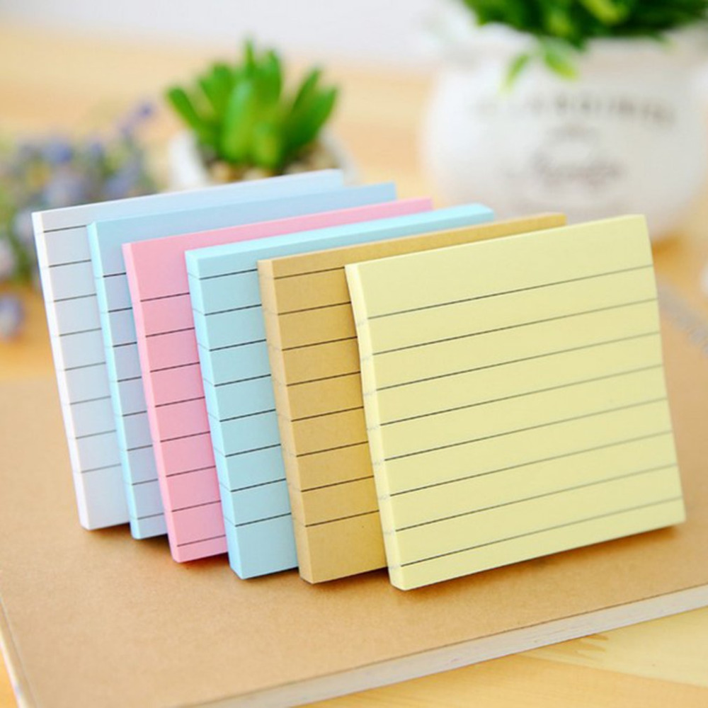 80 Sheets Solid Color Memo Pad Stickers Self-adhesive Sticky Message Notice Notepad School Office Stationery Supplies