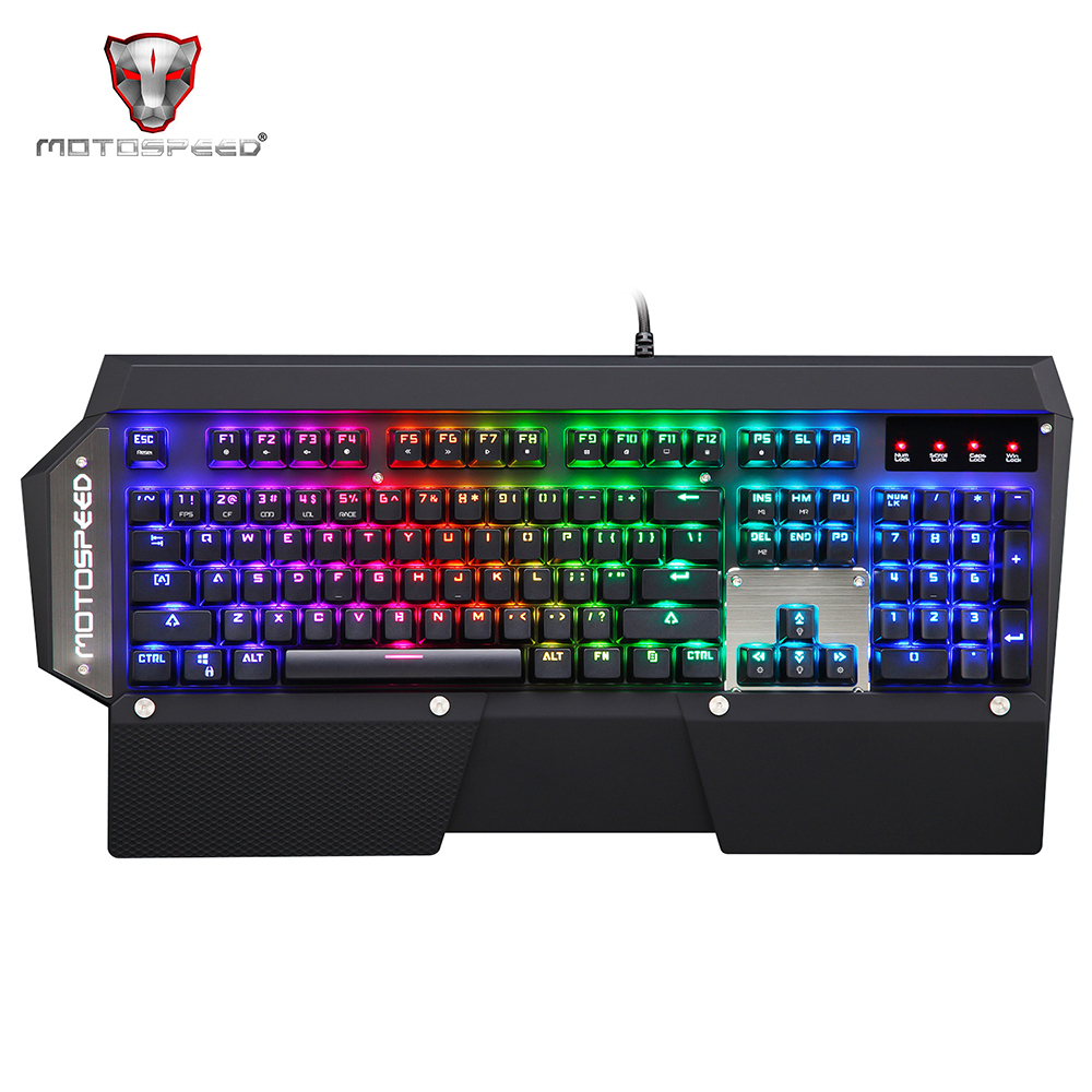 цена Motospeed CK88 NKRO Wired USB Mechanical Keyboard Black Illuminated Gaming Keyboards RGB LED Indicator for PC LOL overwatch dota