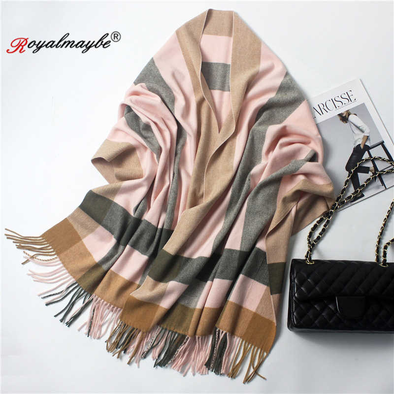 15915dc354f5e ... shawl scarf for women 2018 winter warm tartan cashmere thickened big  scarves black wool red plaid ...