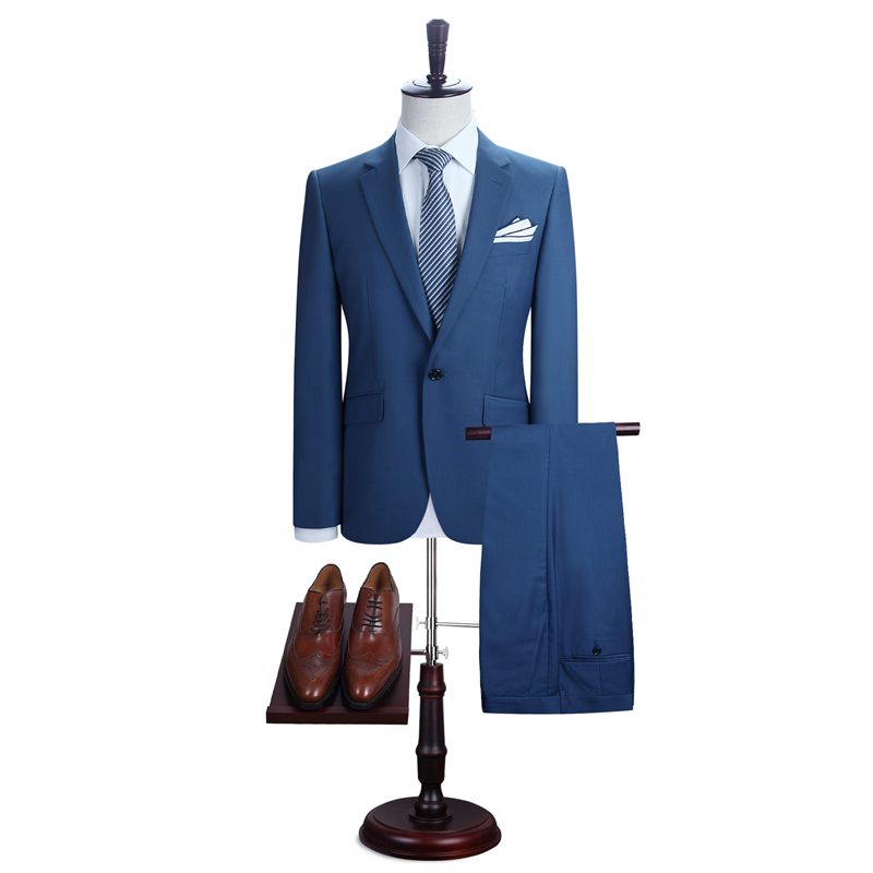 Smart Casual Navy Plaid Suit Custom Made Slim Fit Dark Blue Windowpane Suits With Nailhead Pattern