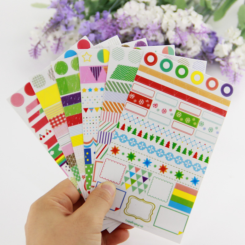 6PCS DIY Transparent Rainbow Colored Paper Sticker Memo Pads Creative Decoration Diary Scrapbook Label Office Stationery Gift
