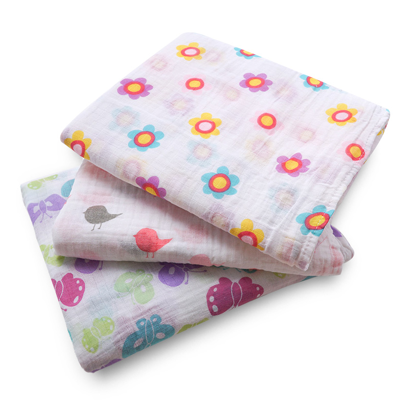 Muslinlife Europe Fashion Style Baby Toddler Blanket Soft Cotton Light Weight Blanket Floral Printed Baby Blanket Wrap