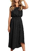 Women Summer Dress Round Neck Sleeveless Polka Dot Irregular Midi Dress Loose Casual Dress Black Khaki Yellow