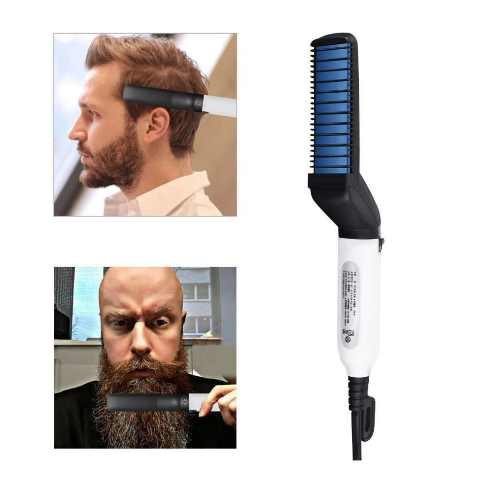 Men Hair Straightener Curler Comb Multifunctional Moustache Hair Styling Beard Styler Irons Quick Electric Hair Brush Bulk Stock