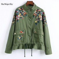 SheMujerSky Bomber Jacket Women Floral Embroidered Jackets Army Green bomber feminina Autumn Black