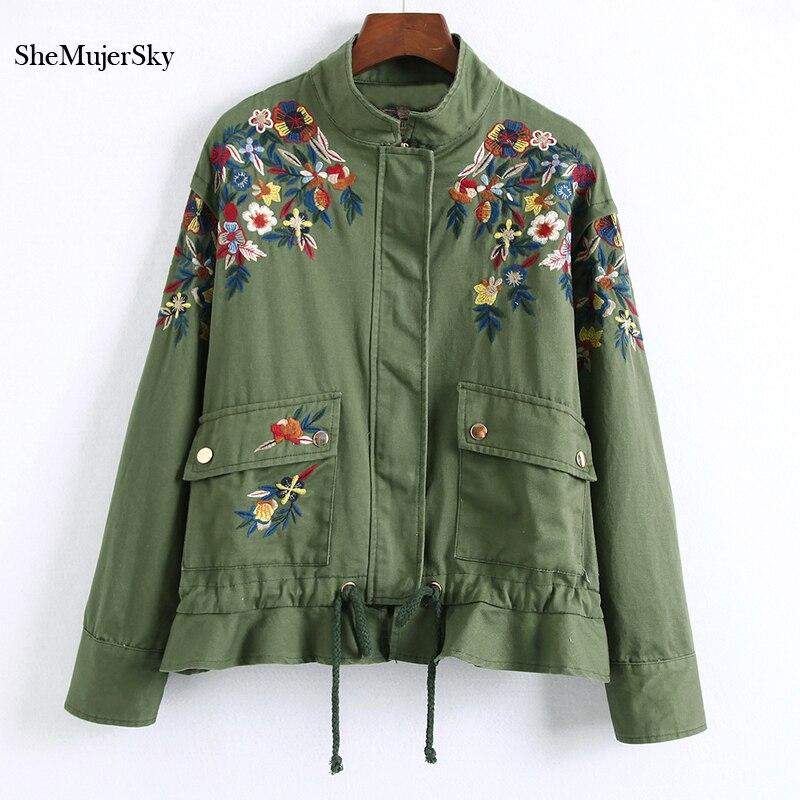 SheMujerSky kurtka Bomber kobiety kwiatowy haftowane kurtki bomberka w kolorze zieleni wojskowej feminina jesień czarny w Podstawowe kurtki od Odzież damska na AliExpress - 11.11_Double 11Singles' Day 1