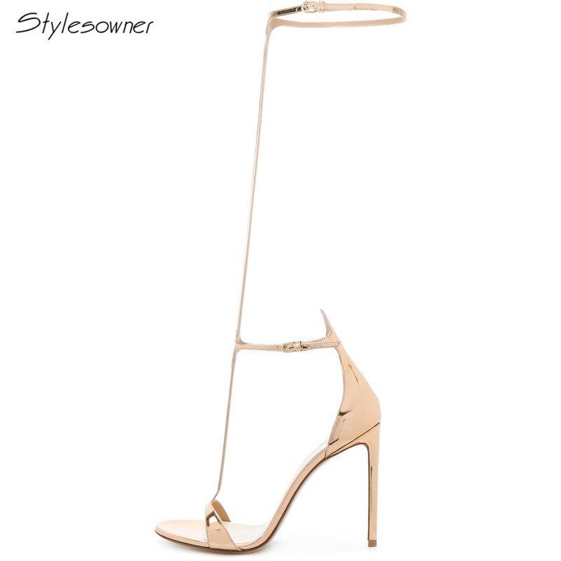 2018 Nouveau Super D'été Haute Marque Bottes Stylesowner Aiguille Femmes Dames Talon De Gold Nom Chaussures Light Mariage Mode or Sexy Parti f1q5twxd