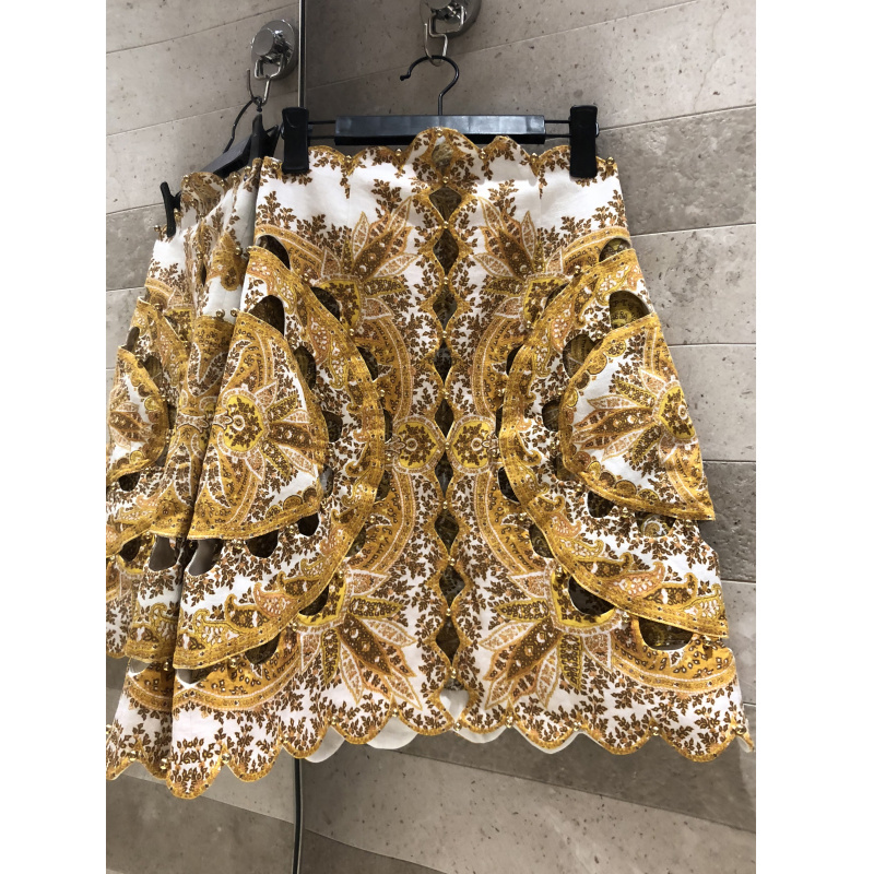 Elegant delicate embroidery geometric pattern gold print three dimensional cutting beaded skirt high end women s