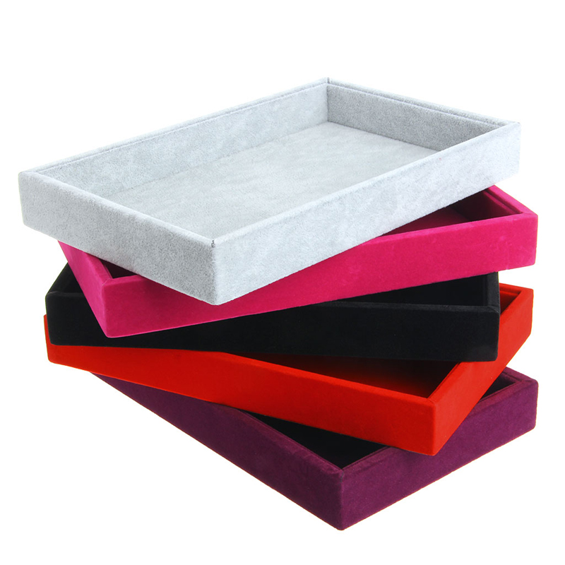 5Colors Stackable Jewelry Trays Inserts Velvet Catch All Jewelry Display Tray Case Bracket Boutique Decoration Storage Organizer