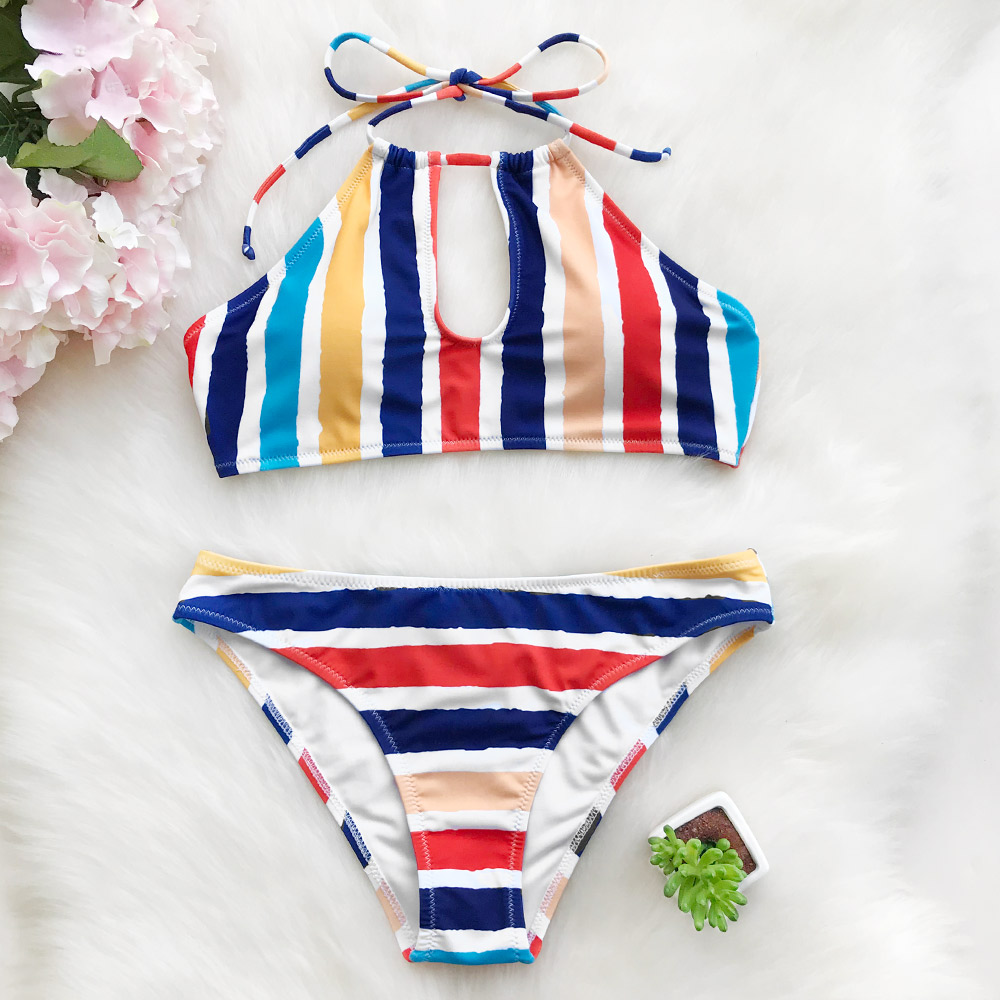 Cupshe Candy Rainbow Halter Bikini Set  Summer Swimsuit Beach Bathing Suit Swimwear Brazilian Biquini monokini фен elchim 3900 healthy ionic red 03073 07