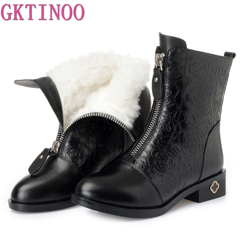 GKTINOO Women Martin Boot Thick Heel Platform Shoes Winter Warm Wool Boots For Women Genuine Leather Ankle Boots Plus Size 35-42 new autumn winter thick heel boots genuine leather ankle shoes vintage platform shoes handmade women boots lady plus size 35 43