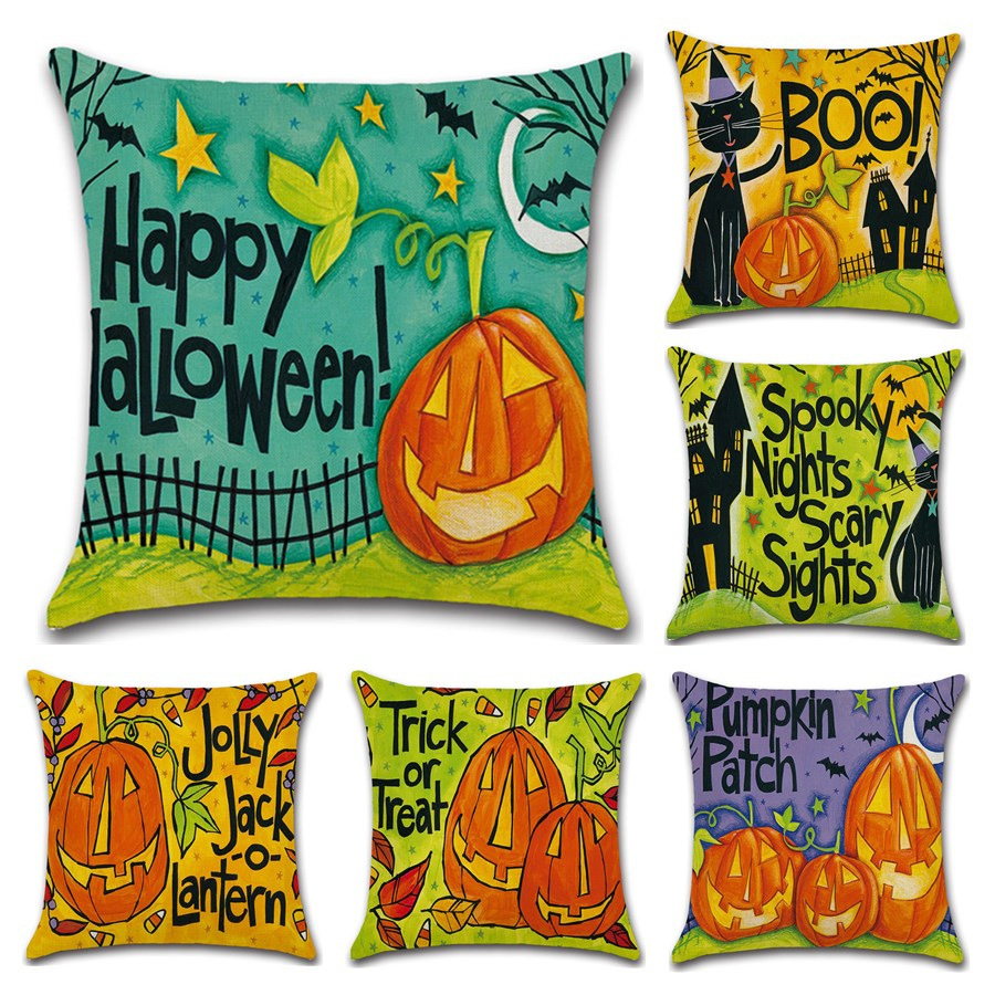 Pumpkin head Funny Halloween decoration for home party cushion cover Pillow case coffee shop Chair seat sofa kids cartoon gift