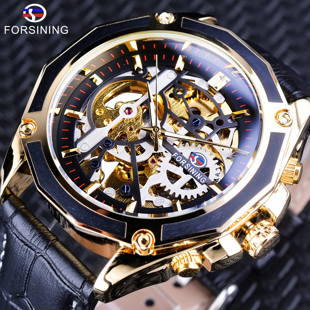 Forsining Transparent Case Gear Movement Steampunk Men Automatic Skeleton Watch Top Brand Luxury Open Work Design Self Winding forsining 3d skeleton twisting design golden movement inside transparent case mens watches top brand luxury automatic watches