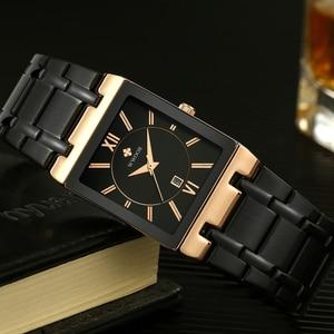 Image 3 - 2020 Luxury Mens Watch Quartz Analog Wristwatch WWOOR 8858 Man Stainless Steel Rectangular Business Watch Relogio Masculino #a