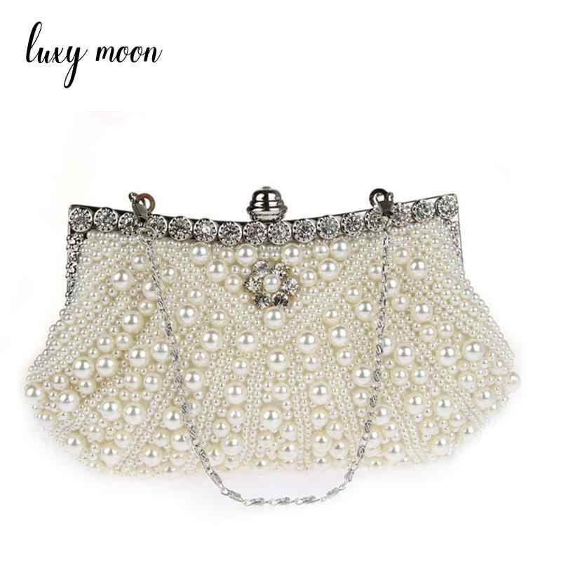 LUXY MOON pearls beaded evening bag elegant handmade day clutch hot ivory  white evening clutch bag