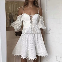 Cuerly white hollow out ball dress women 2019 summer party skater dress off shoulder bow sexy mini dress white crochet dresses