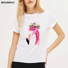 2019 New Flamingo Print T Shirt Women T-shirts O Neck Short Sleeve Cotton Tshirt Harajuku Summer Tops Casual Tee Shirt Femme