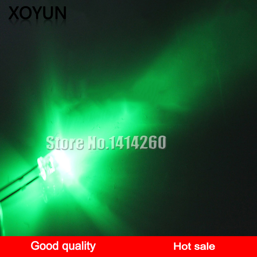 100pcs/lot 5MM White Hair Green LED Ultra Bright LED