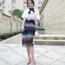 High Waisted Sweet Tiered Gauze Below Knee Straight Skirts