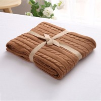 120cm 180cm Cotton Knitted Wool Blanket Bed Throw Air Conditioned Room Sofa Knit Blanket Keep Warm