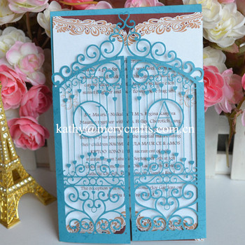 luxurious gate laser cut wedding invitation card/die cut wedding cards with initials