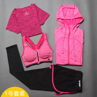 Sexy Women Yoga Sets 4 Pieces Gym Yoga Clothing Suit Autumn Winter Female Running Quick Dry