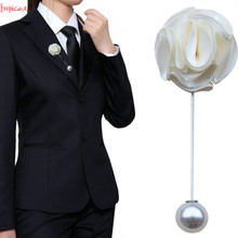 WIFELAI-A 4piece Wedding Satin Rose Boutonniere with Pearl,Best Men Groom Bride Flowers Pin for Prom Party XH1329-Z