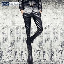Новинка мужская одежда GD стилист волос Мода представление Панк Мотоцикл локомотив заклепки кожаные брюки певица костюмы