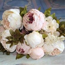 Vivid пион листьев шелк падение искусственные европейский поддельные цветы партия свадьба