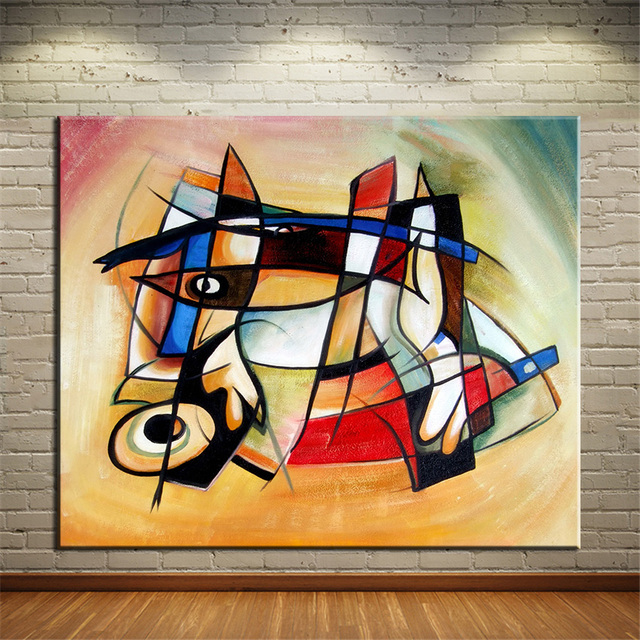 Us 5 63 6 Off Big No Frame Printed Point And Cubic Abstract Oil Painting Canvas Prints Wall Painting For Living Room Decor Wall Picture Art In
