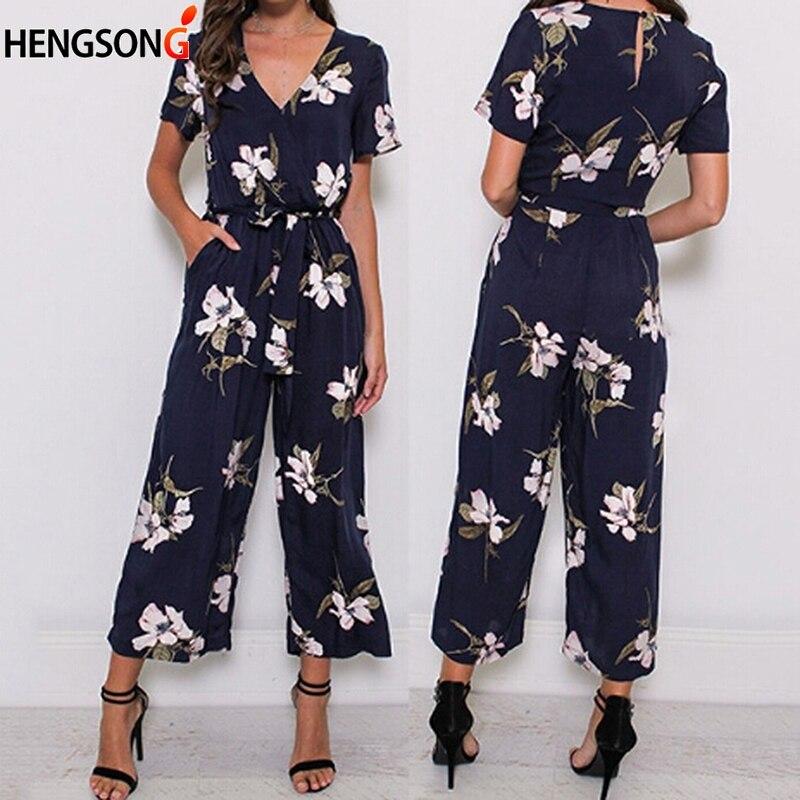 Hengsong Jumpsuit Office Pants Chiffon-Pocket Printed Loose Large-Size Fashion Women's