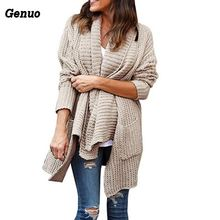 Genuo Autumn Women Casual Sweaters Knitting Long Cardigan Female Loose Knitted Jumper Top Warm Winter Sweater Tops