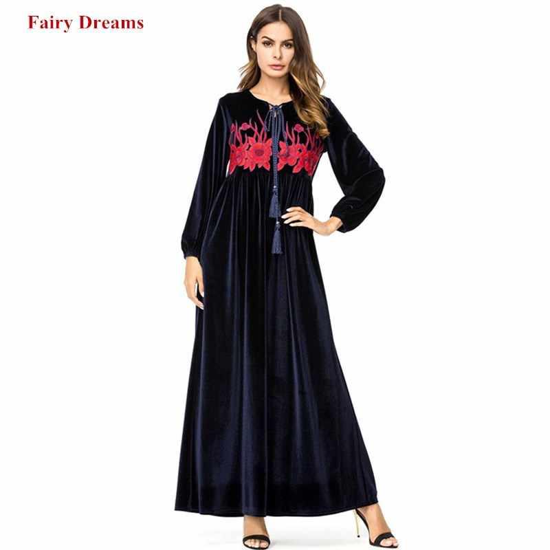 a018ed64ea7b Velvet Abaya Dubai Tassel Embroidery Muslim Dress Kaftan Turkish Arab Islamic  Clothing Long Sleeve Women Dresses