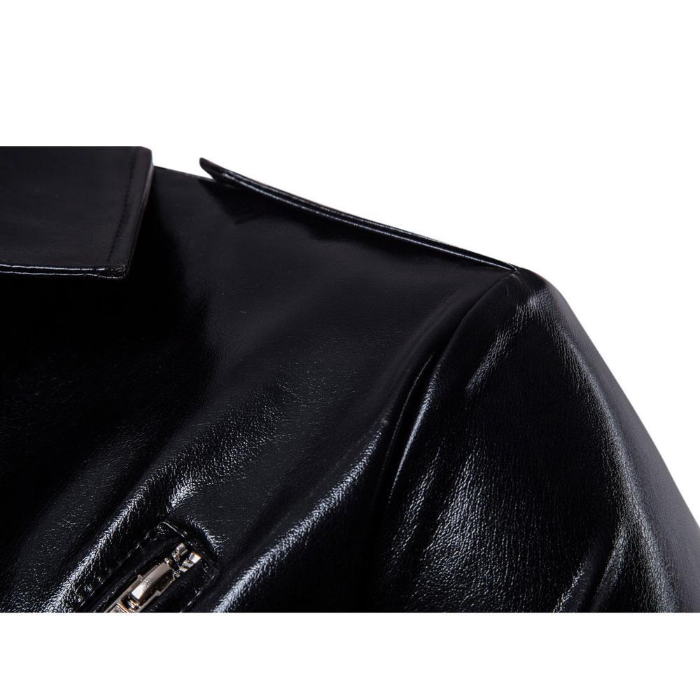 ZOZOWANG moto en cuir veste hommes 2019 tout nouveau hommes PU en cuir veste décontracté coupe-vent veste hommes manteaux col rabattu - 5