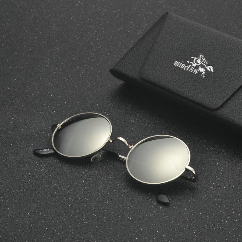 MINCL/ punk Polarized Sunglasses Men Women Retro Brand Designer Small Round Alloy Frame Summer Style Unisex Sun Glasses LXL 6