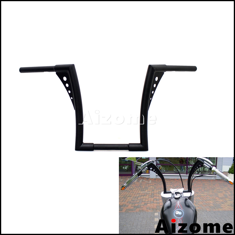 Custom Black Ape Hangers Fat Bar 1 1 4 Bar 12 Rise Handlebar For Harley Softail
