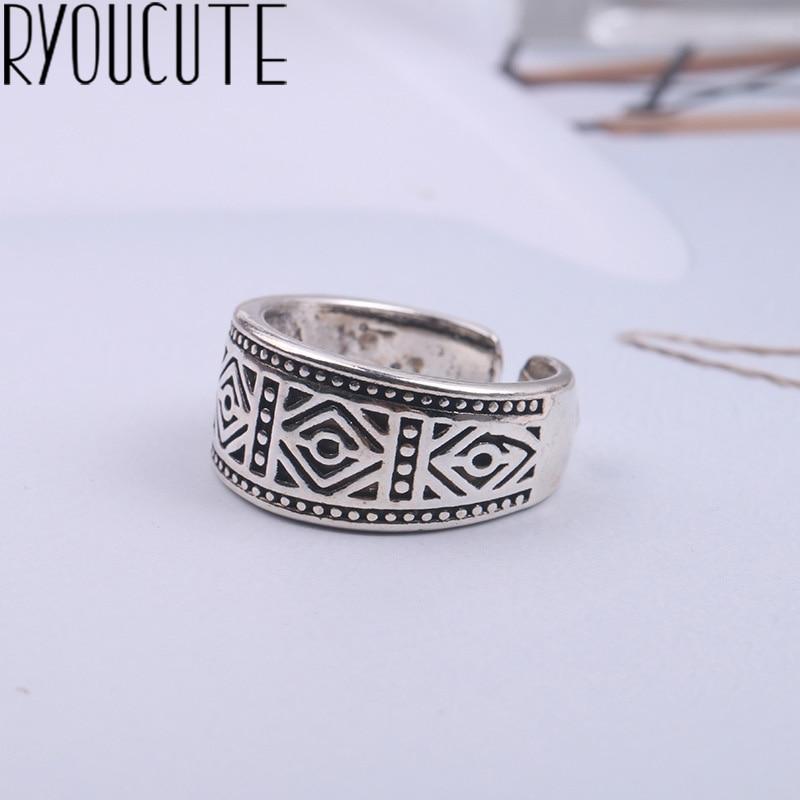 2019 Bijoux Fashion Real 925 Sterling Silver Geometric Rings For Women Boho Adjustable S925 Antique Rings Anillos Joyas De Plata