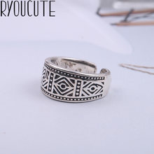 2019 Bijoux Fashion Real 925 Sterling Silver Geometric Rings for Women Boho Adjustable S925 Antique Rings Anillos joyas de plata(China)