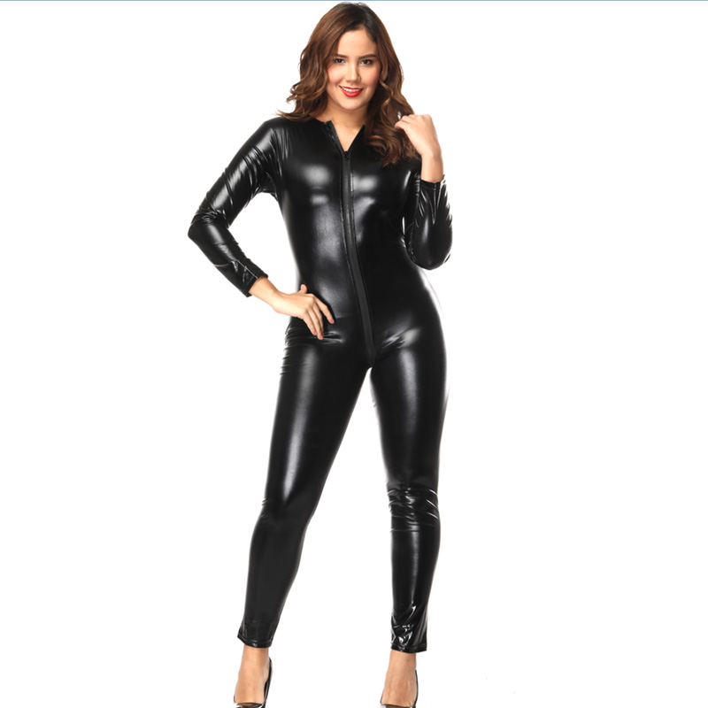 d8eb11c6748 Black Women s Zip To Crotch Long Sleeve Catsuits Shiny PVC Vinyl Leather  Bodysuits Fullbody Romper Wetlook Jumpsuits Zentai-in Zentai from Novelty    Special ...