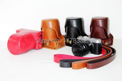 Leather Ever Ready camera case bag Shoulder Strap for FUJIFILM FUJI FINEPIX X-M1 XM1 X-A1 XA1 Free shipping+tracking