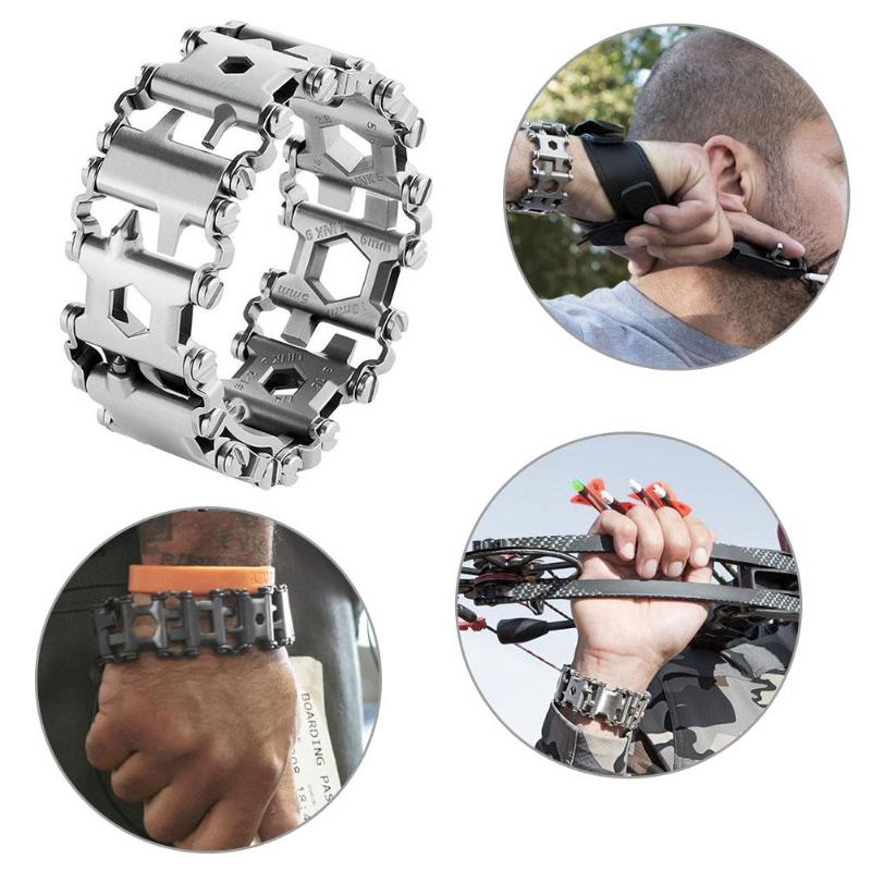 Multi Tool Bracelets Stainless Steel Outdoor Bolt Driver Tool Kit Screwdriver Hand Chain Field Survival Bracelet for Camping