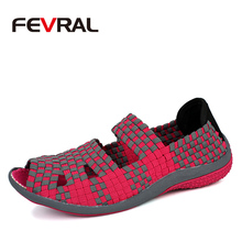 FEVRAL 2020 Brand Breathable Summer Shoes Woman Loafers Slip on Casual Shoes Ultralight Flats Shoes New Woman Shoes Size 35 40