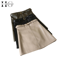 HEE GRAND Women Spring Autumn PU Skirt Solid Faux Leather Mini Skirts A Line Elegant Casual Short Slim Skirt with belt WQB1019