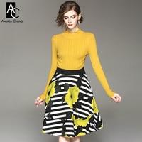Autumn Winter Woman Outfit Yellow Sweater Black White Strip Pattern Black Leaf Yellow Floral Pattern Print