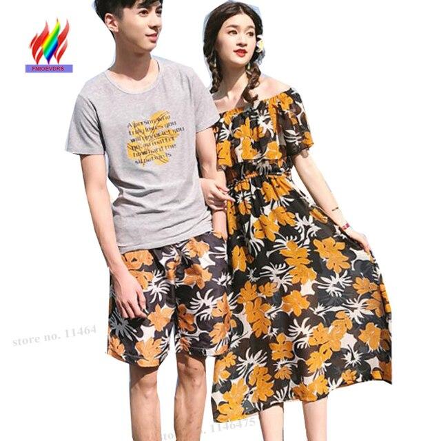 b35c0c93ecfa Honeymoon Matching Lovers Couple Clothes Women Bohemian Beach Dresses  Ruffled Floral Chiffon Slim Waist Off Shoulder Dress Long
