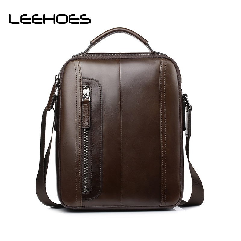 купить High Quality Cowhide Genuine Leather Men Shoulder Bags Messenger Bag Fashion Luxury Business Satchel for Male Designer Handbags недорого