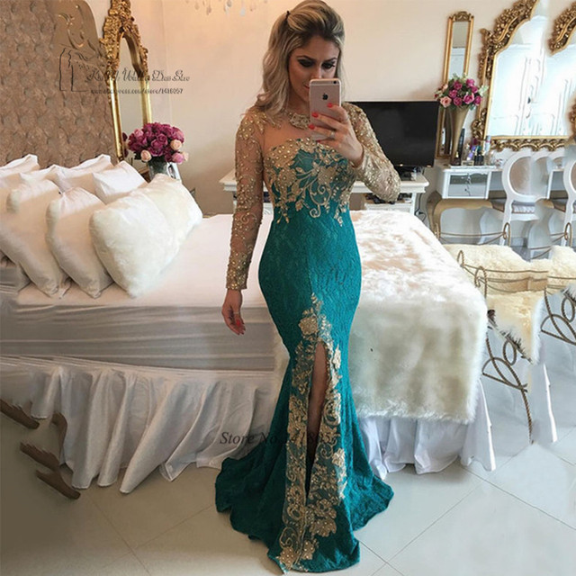 66d2a6bd22 Sexy Formal Green Gold Lace Evening Dresses Long Sleeve Mermaid Prom Dress  Beaded Special Occasion Gown Vestido de Festa Abiye